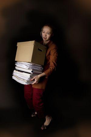 frustrated businesswoman, dark background Stock Photo - 4938660
