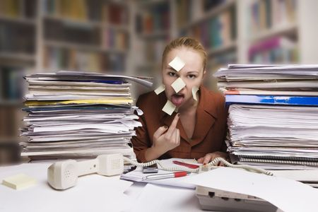 sick and tired businesswoman at the desk Stock Photo