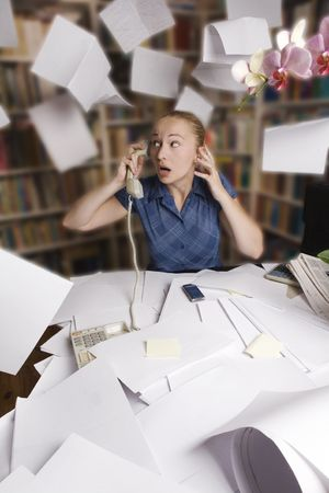 woman flying: businesswoman in the office - and mess Stock Photo