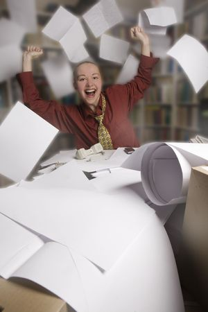 happy free businesswoman and mess in her office Stock Photo - 5044418