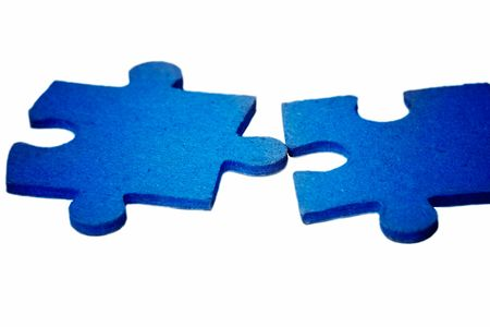 solver:   puzzle - blue contact Stock Photo