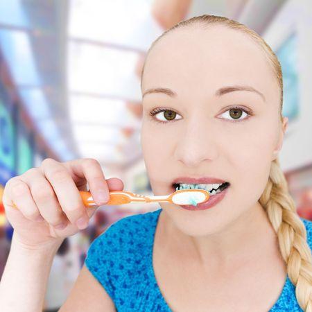 cute girl brushing teeth Stock Photo - 5478009