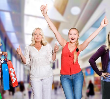 shopping centre:   women shopping - 50 and 25 years old Stock Photo