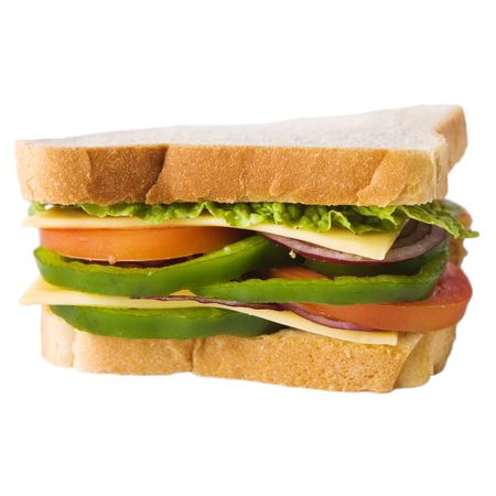 sandwich with cheese and vegetables isolated on white background