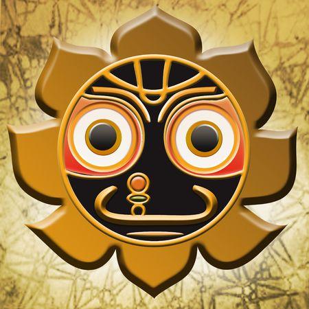 vedic: Jagannath vedic symbol as a background - illustration Stock Photo