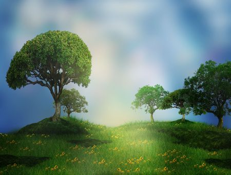 Dreamy fairy tale landscape - with trees and dandelions (illustration) Stock Photo