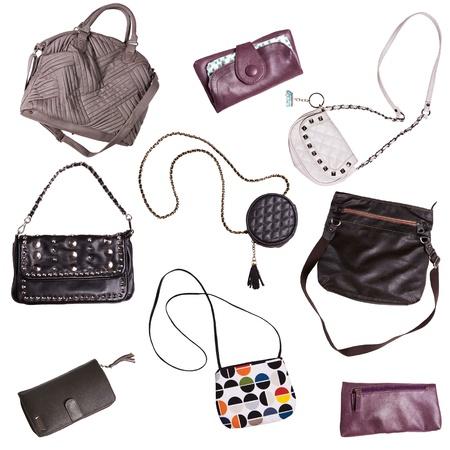 leren tas: verschillende tassen voor vrouwen op een witte achtergrond