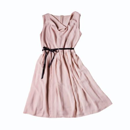 elegant pink dress isolated on white background