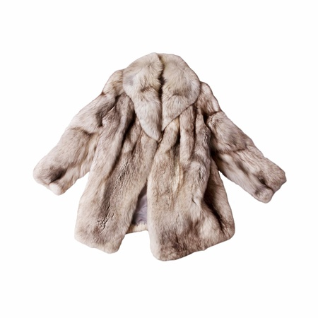 real fox fur coat isolated on white background Stock Photo