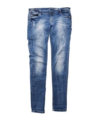 blaue Jeans für Mädchen, die isoliert auf weißem Hintergrund
