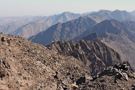 Mountain ridges in Morocco. Trekking on Toubkal - the highest peak.
