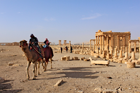 Syria, Palmyra; February 25, 2011- Temple of Baal-Shamin in the ancient Semitic city of Palmyra on syrian desert (shortly before the war)