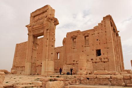 Temple of Bel. Ruins of the ancient city of Palmyra on syrian desert (shortly before the war) Editorial