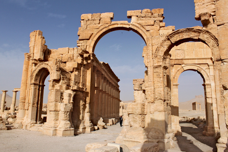 Arch of Triumph. Ruins of the ancient Semitic city of Palmyra on syrian desert (shortly before the war) Stock Photo