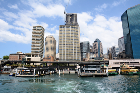 Australia; Sydney October 25th 2018 -View on skyscrappers and harbour in Sydney city centre Standard-Bild - 123681369