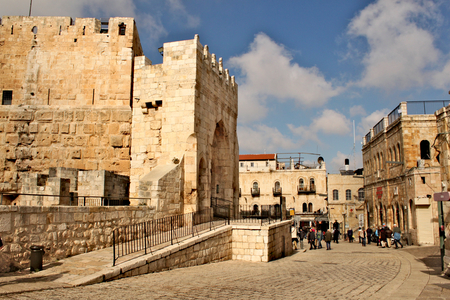 An ancient citadel located near the Jaffa Gate entrance to western edge of the Old City of Jerusalem Standard-Bild - 123681513