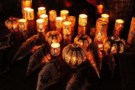 Group of decorative lamps giving mystic light. Standard-Bild - 127499361