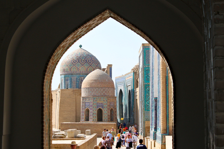 Samarkand / Uzbekistan; September 23rd, 2014 -Shah-i-Zinda includes mausoleums and other ritual buildings of 9-14th and 19th centuries Standard-Bild - 123681526
