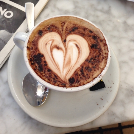 Coffee with heart shape