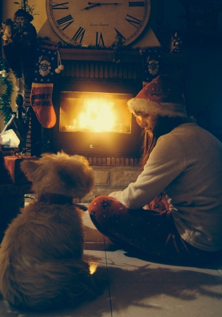 Dog and teenager beside the chimney