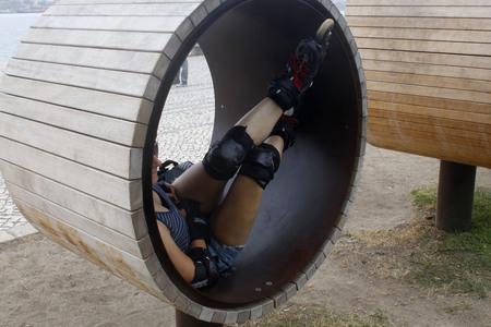inline skater: skater resting in a wheel in Lisbon