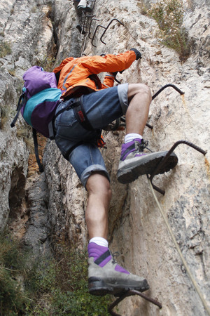 mountaineer: mountaineer doing a via ferrata in Spain