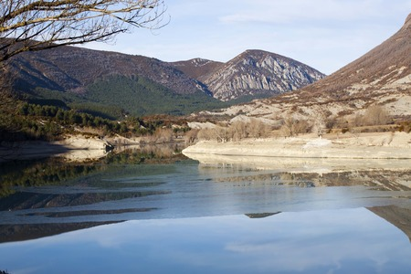 huesca: Reflection of the mountain in a lake in Huesca, Spain