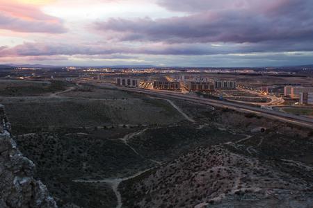 zaragoza: view of a city, Zaragoza at night Stock Photo