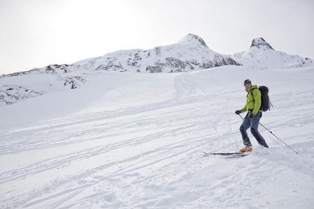 braking: skier braking at the end of the mountain