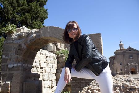 zaragoza: rock woman in Zaragoza, near a church Stock Photo