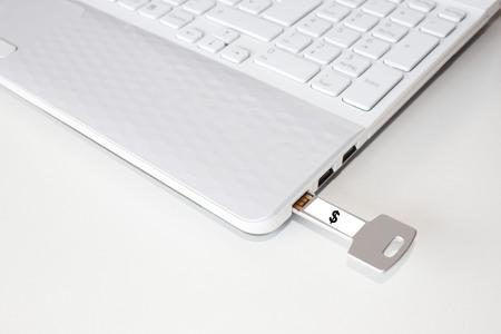 dolar: Pendrive en un ordenador portátil con el signo de dólar Foto de archivo