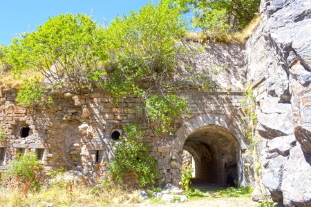 Entrance of the fort in Canfranc of the civil war, Spain