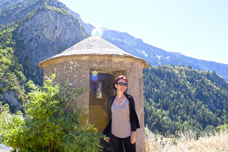 spanish civil war: girl in a shelter of the spanish civil war in the Pyrenees