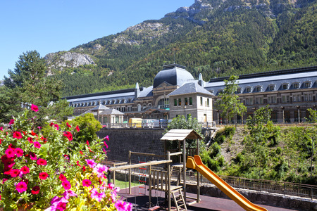 train station in Canfranc in front of a children park, Spain