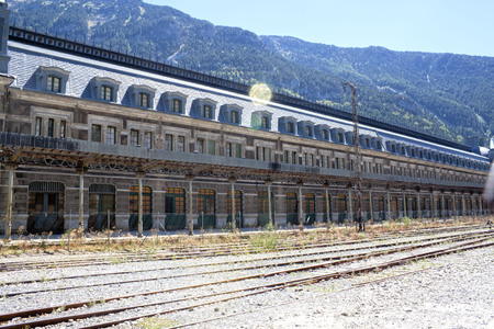 Train station in Canfranc with the railroad, Spain Stock Photo