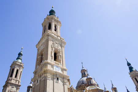 view of the towers of El Pilar, Zaragozas cathedral in Spain
