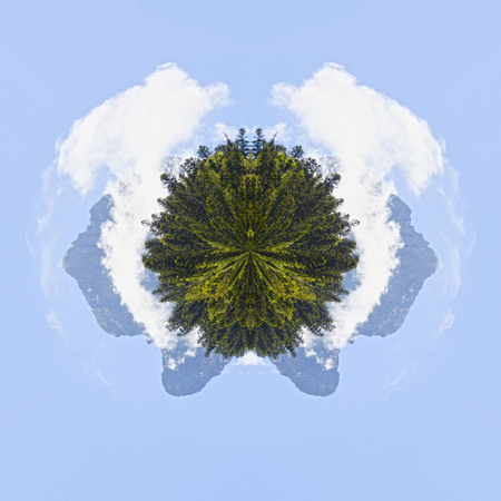 Planet effect of Midi dOssau in the morning behind pine trees, in Pyrenees, France Stock Photo