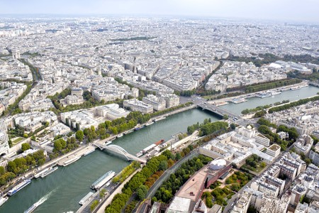 Seine river and Paris view from an aerial view, France