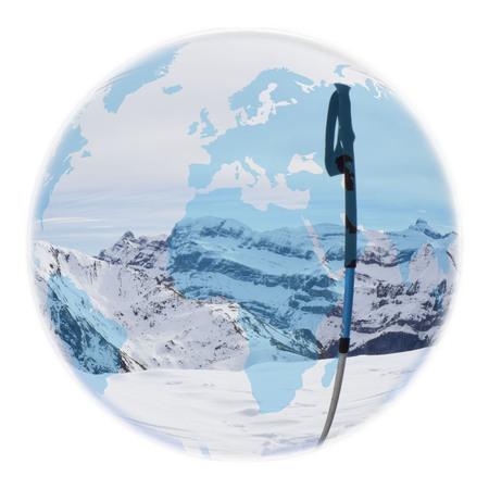 Globus über einen Strommast in einem Berg Standard-Bild - 92029341