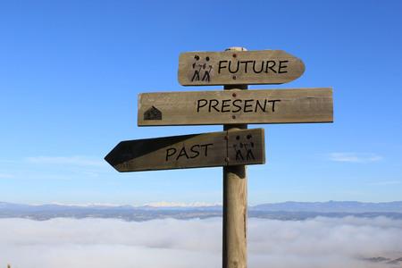 trzy znaki wskazujące drogę do przyszłości, teraźniejszości i przeszłości