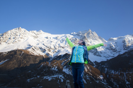 woman enjoying in a landscape with mountains in la Grave, France 스톡 콘텐츠