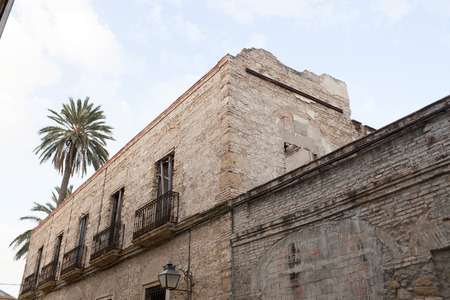 palm tree and a building in a street in Cordoba Spain 스톡 콘텐츠