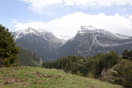 landscape of mountains in a sunny day in Pyrenees, Spain