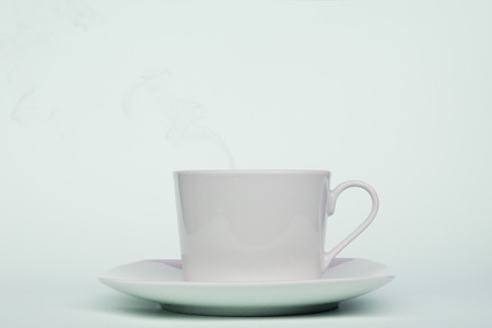 cup of coffee in the morning in blue 스톡 콘텐츠