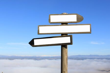 three signs indicating the way to anywhere Stock fotó