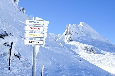 sign in the mountains cover of ice with happiness word