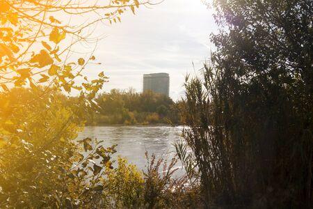 Torre del agua in Zaragoza behind the Ebro river in a sunny day, Spain Stock fotó