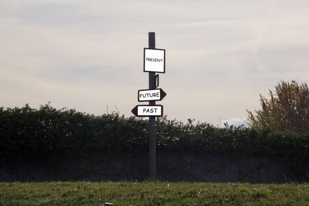 three signs indicating the way to anywhere in a park