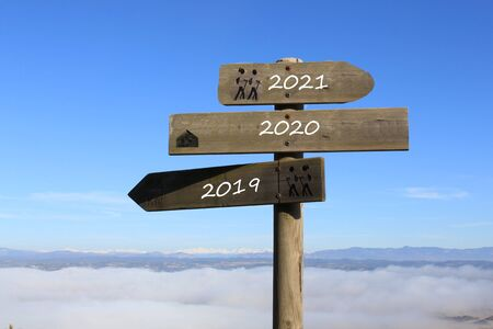 three signs indicating the way to 2019, 2021 or 2020 year Stock fotó