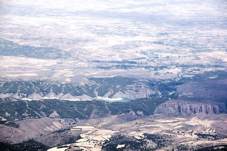 view of Zaragoza over the Moncayo mountain in Zaragoza, Spain